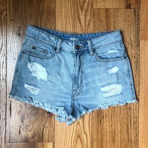 URBAN OUTFITTERS Distressed High Rise Denim Shorts